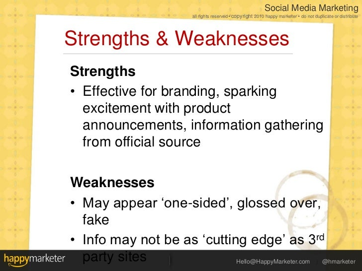 Social Media Landscape 2011 Strengths Weaknesses