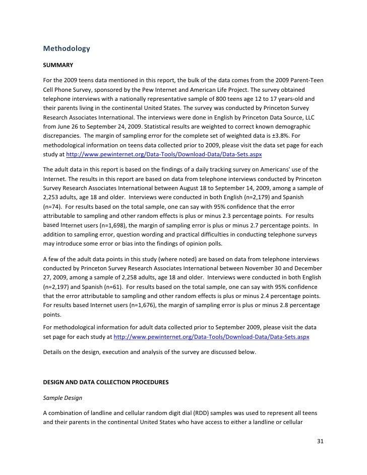 Methodology SUMMARY  Forthe2009teensdatamentionedinthisreport,thebulkofthedatacomesfromthe2009Parent‐T...