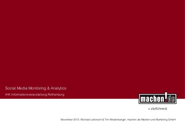 Social Media Monitoring & AnalyticsIHK Informationsveranstaltung Rothenburg                                               ...