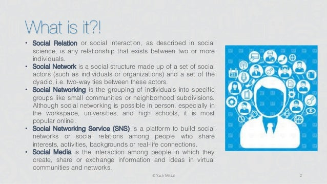social media and networking presentation 2 essay A social networking service (also social networking site, sns or social media) is a web application that people use to build social networks or social relations with other people who share similar personal or career interests.