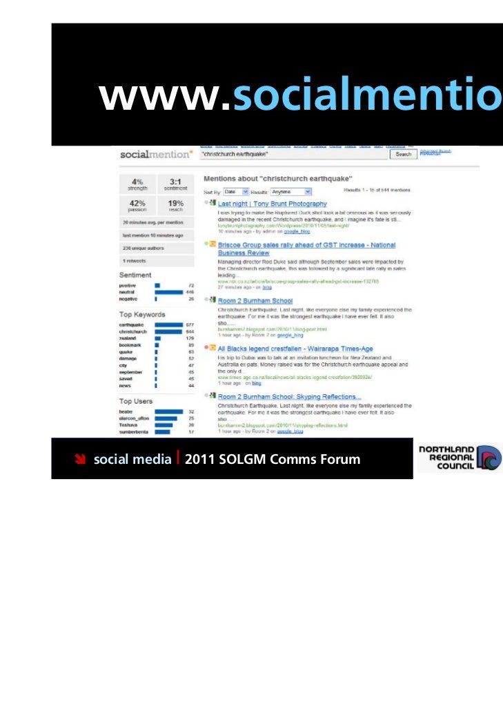 www.socialmention.com social media | 2011 SOLGM Comms Forum   Putting Northland first