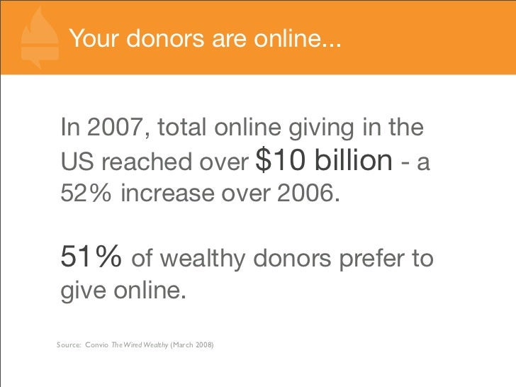 Your donors are online...   In 2007, total online giving in the US reached over $10 billion - a 52% increase over 2006.  5...