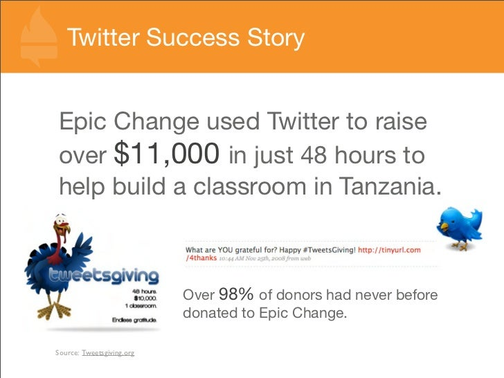 Twitter Success Story   Epic Change used Twitter to raise over $11,000 in just 48 hours to help build a classroom in Tanza...