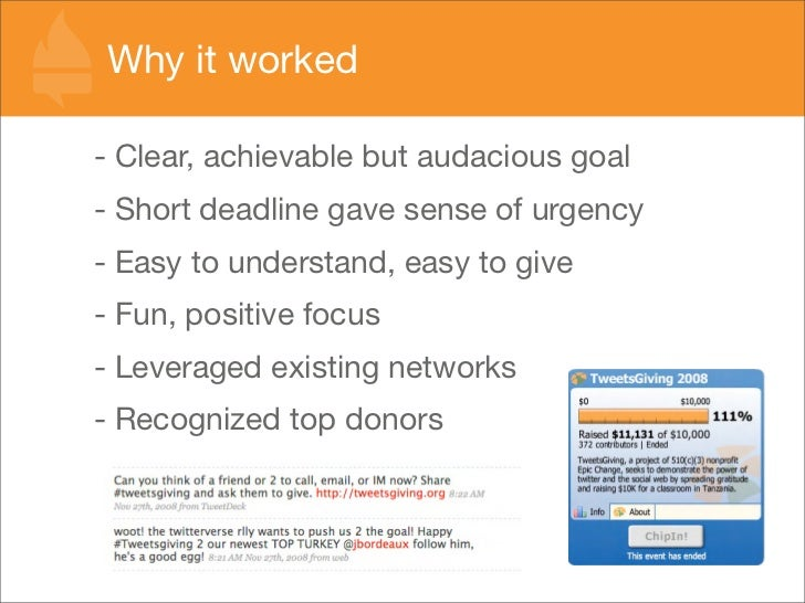 Why it worked  - Clear, achievable but audacious goal - Short deadline gave sense of urgency - Easy to understand, easy to...