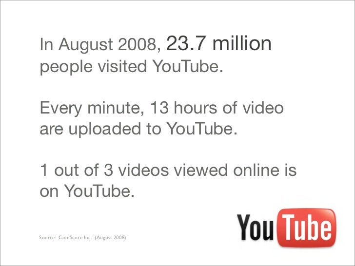 In August 2008, 23.7 million people visited YouTube.  Every minute, 13 hours of video are uploaded to YouTube.  1 out of 3...