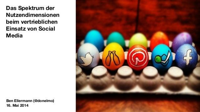 Das Spektrum der Nutzendimensionen beim vertrieblichen Einsatz von Social Media Ben Ellermann (@donelmo) 16. Mai 2014