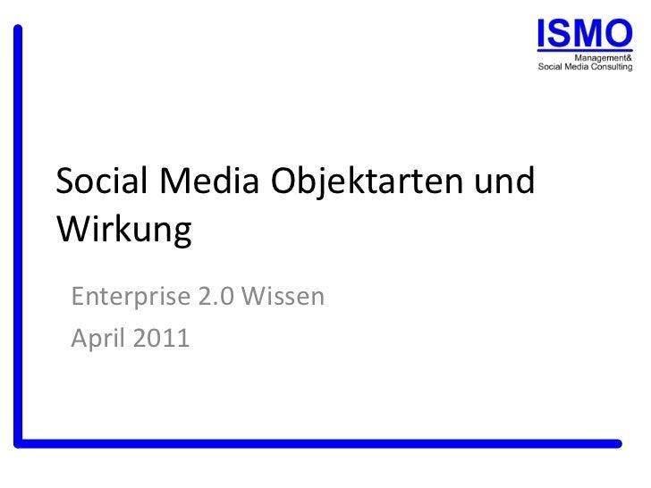 Social Media Objektarten und Wirkung<br />WEB 2.0 Wissen<br />April 2011<br />