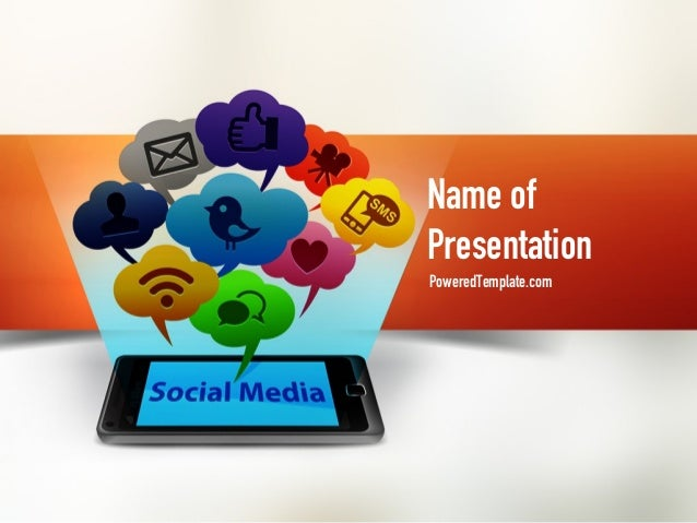 social media on smartphone powerpoint template