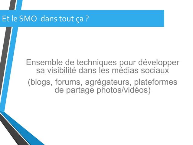 Ensemble de techniques pour développersa visibilité dans les médias sociaux(blogs, forums, agrégateurs, plateformesde part...
