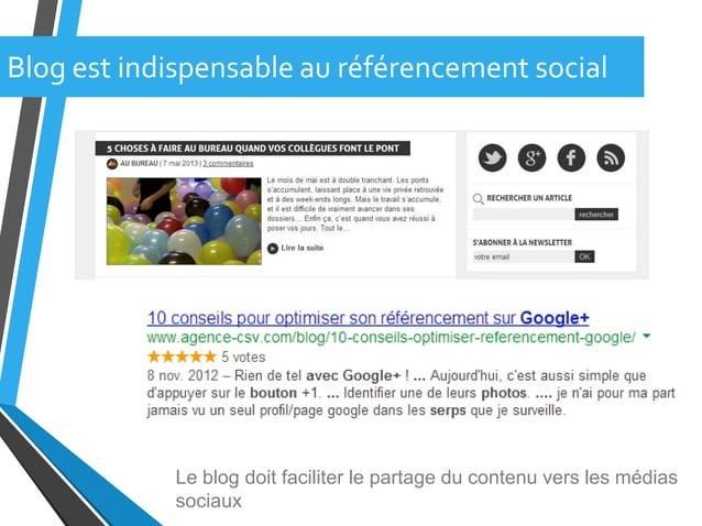 Blog est indispensable au référencement socialLe blog doit faciliter le partage du contenu vers les médiassociaux
