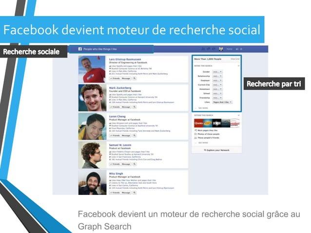 Facebook devient moteur de recherche socialFacebook devient un moteur de recherche social grâce auGraph Search