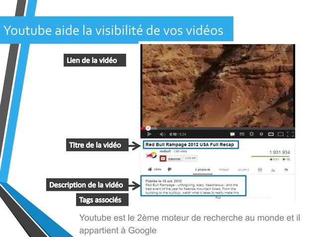 Youtube aide la visibilité de vos vidéosYoutube est le 2ème moteur de recherche au monde et ilappartient à Google