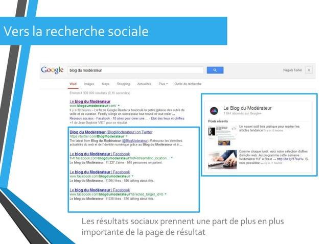 Les résultats sociaux prennent une part de plus en plusimportante de la page de résultatVers la recherche sociale