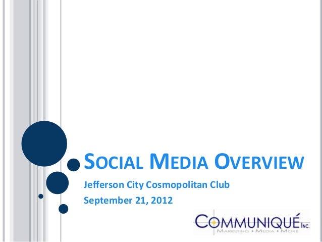 SOCIAL MEDIA OVERVIEWJefferson City Cosmopolitan ClubSeptember 21, 2012