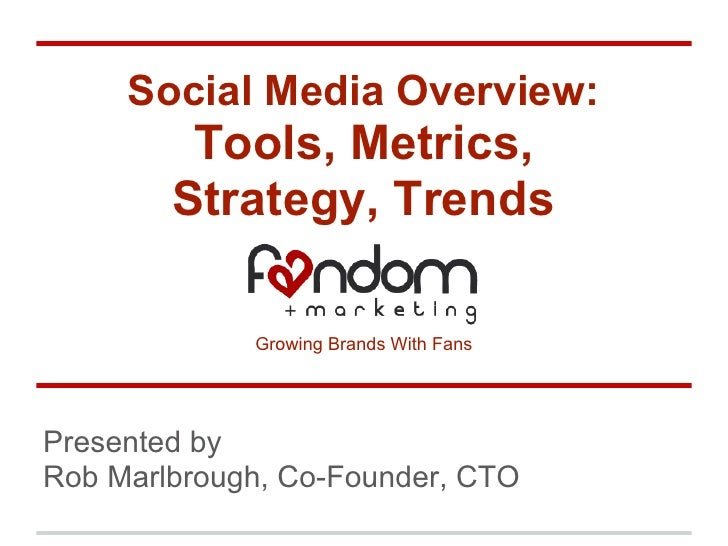 Social Media Overview:         Tools, Metrics,        Strategy, Trends             Growing Brands With FansPresented byRob...
