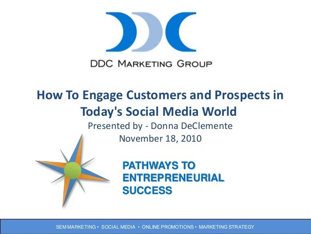 SEM MARKETING • SOCIAL MEDIA • ONLINE PROMOTIONS • MARKETING STRATEGY 1 How To Engage Customers and Prospects in Today's S...
