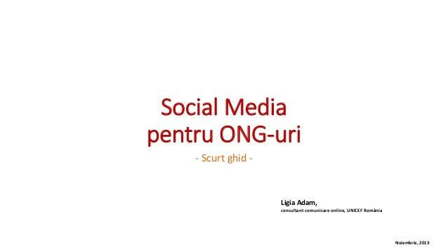 Social Media pentru ONG-uri - Scurt ghid -  Ligia Adam, consultant comunicare online, UNICEF România  Noiembrie, 2013