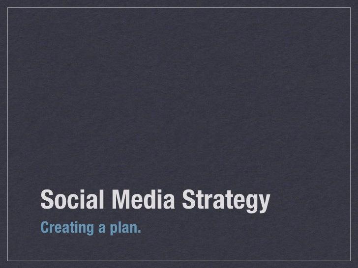 Social Media Strategy Creating a plan.