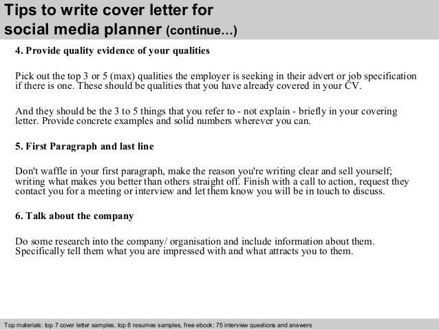 Social media planner cover letter