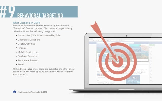"""#SocialMarketing Planning Guide 2015 5  What Changed in 2014  Facebook Sponsored Stories went away, and the new  """"Behavior..."""