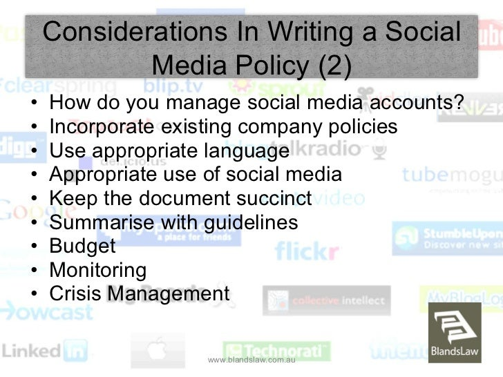 social media policy in the workplace Still working on your social media policy not sure where to start what should it include in previous posts, i helped explain the difference between a social media policy.