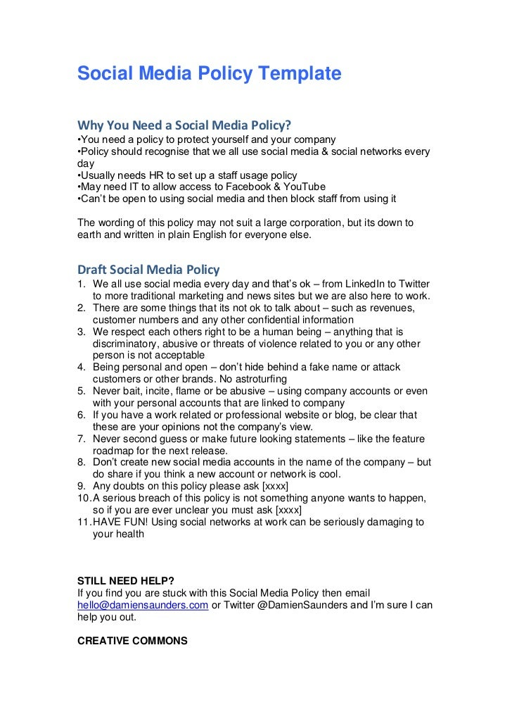 employee social media policy template - social media policy template