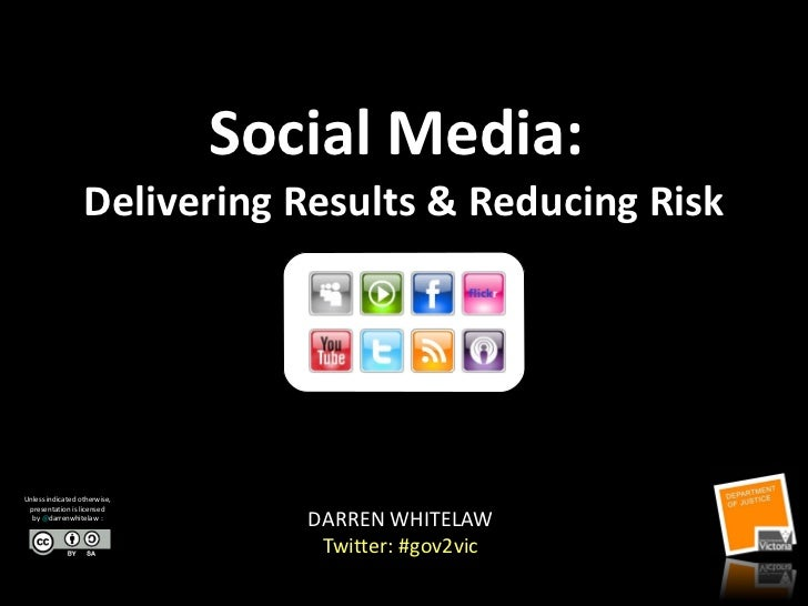 Social Media:  Delivering Results & Reducing Risk DARREN WHITELAW Twitter: #gov2vic Victoria Online Seminar Series Unless ...