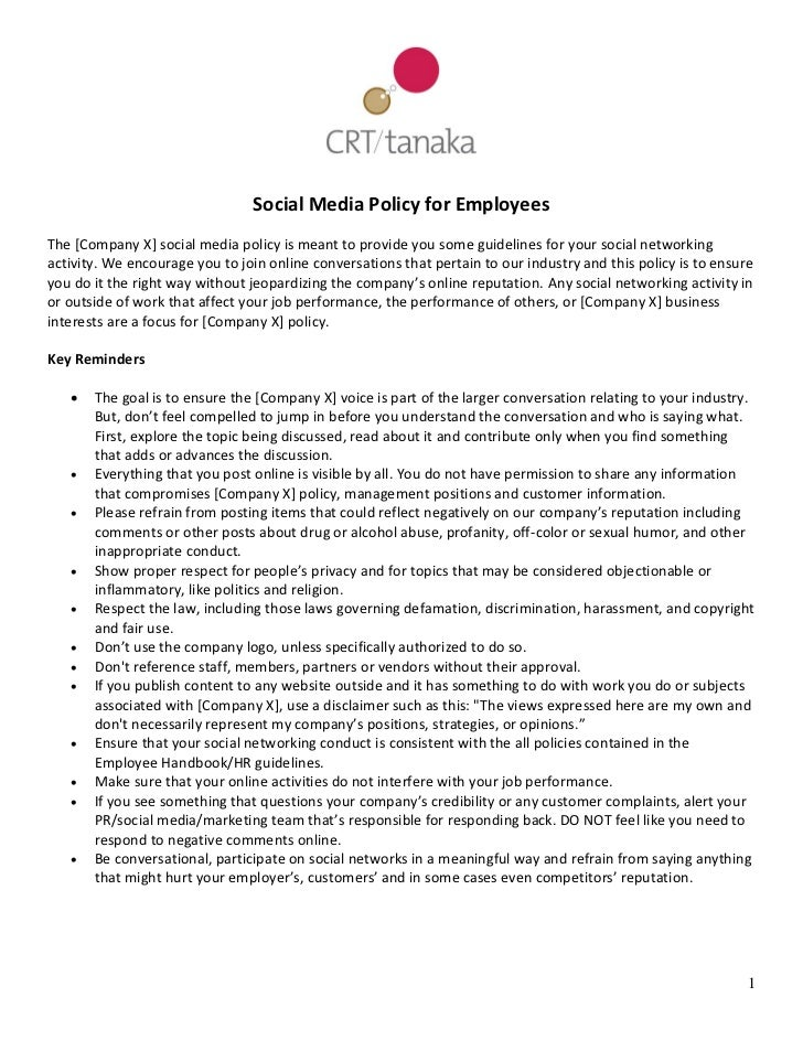 employee social media policy template - crt tanaka social media policy template for employees