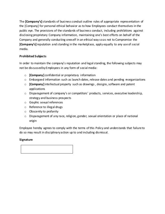 Company Social Media Policy Template By Gregg Towsley - Company property policy template