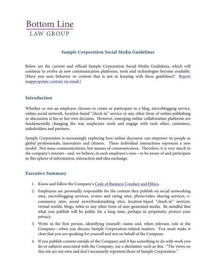 Employee social media policy template | why letter.