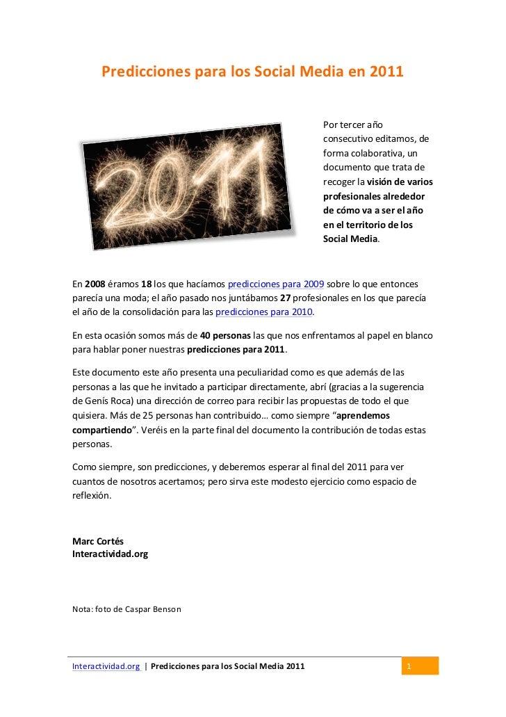 Predicciones para los Social Media en 2011                                                                  ...