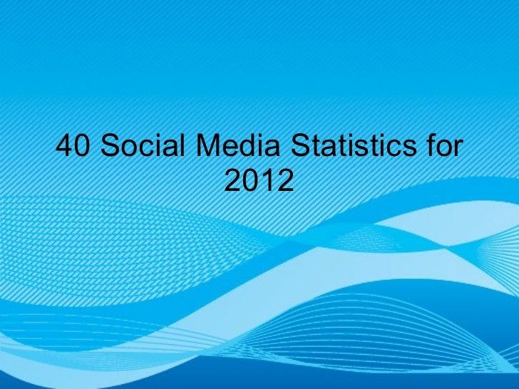 40 Social Media Statistics for 2012