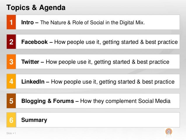social media presentation topic  slide  1 topics agenda 1 2 3 4 5 facebook how people use
