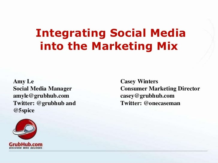 Integrating Social Media into the Marketing Mix Amy Le Social Media Manager  [email_address] Twitter: @grubhub and @5spice...