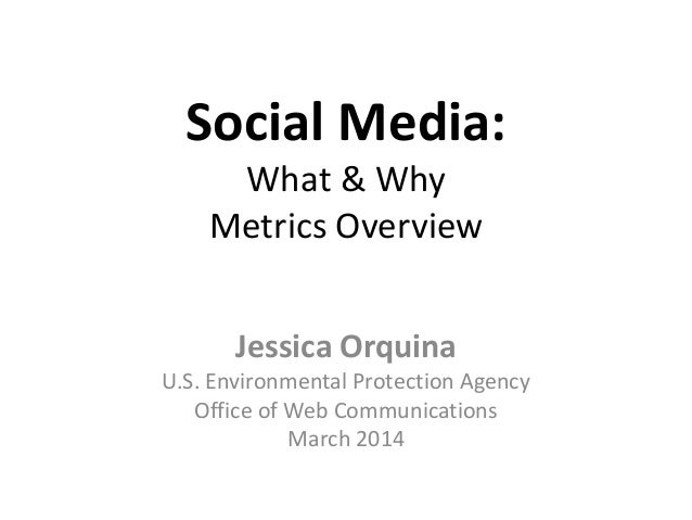 Social Media: What & Why Metrics Overview Jessica Orquina U.S. Environmental Protection Agency Office of Web Communication...