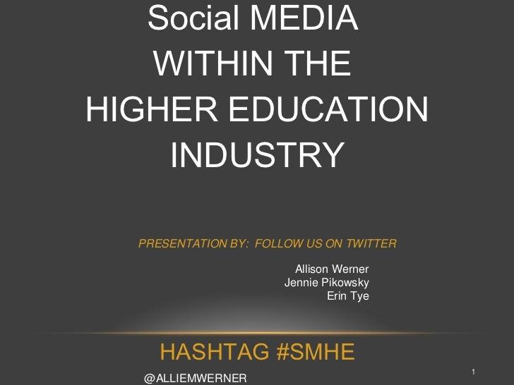 Social MEDIA  WITHIN THE  HIGHER EDUCATION INDUSTRY Allison Werner Jennie Pikowsky Erin Tye @ALLIEMWERNER @JPIKOWSKY @ERIN...
