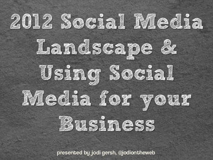 2012 Social Media  Landscape &   Using Social Media for your     Business    presented by jodi gersh, @jodiontheweb