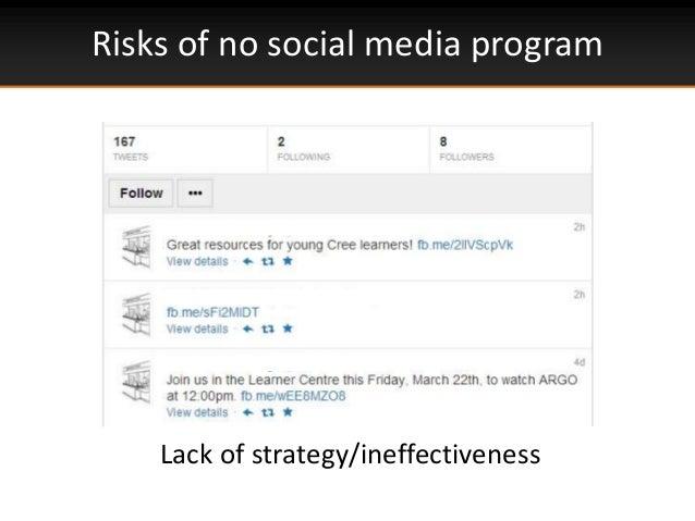 Risks of no social media programLack of strategy/ineffectiveness