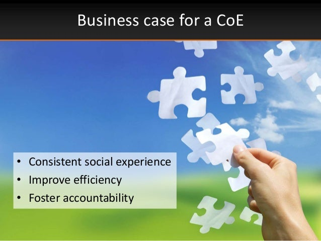 Business case for a CoE• Consistent social experience• Improve efficiency• Foster accountability