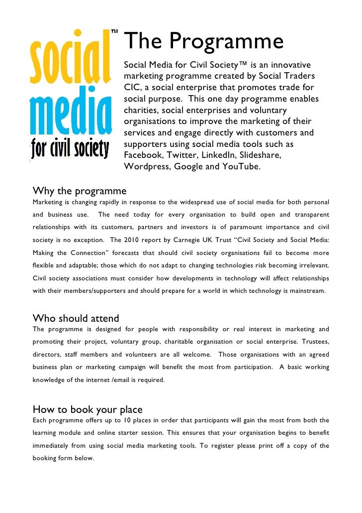 The Programme                               Social Media for Civil Society™ is an innovative                              ...