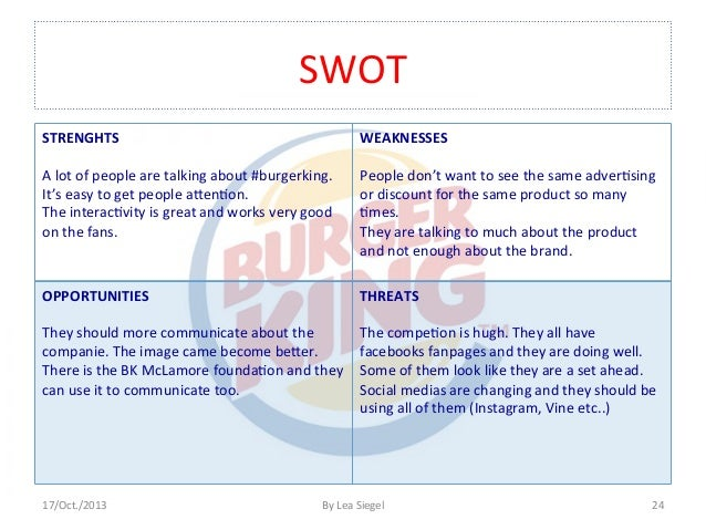 burger swot essay Essay about an analysis of burger king - an analysis of burger king burger king is a reliable burger company which has had its ups and downs in 1974, it came out with a slogan of have it your way and at this time it also had a 4 % market share.