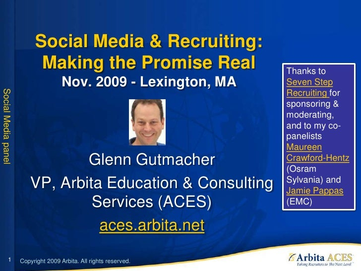 Social Media & Recruiting:                            Making the Promise Real                 Thanks to                   ...