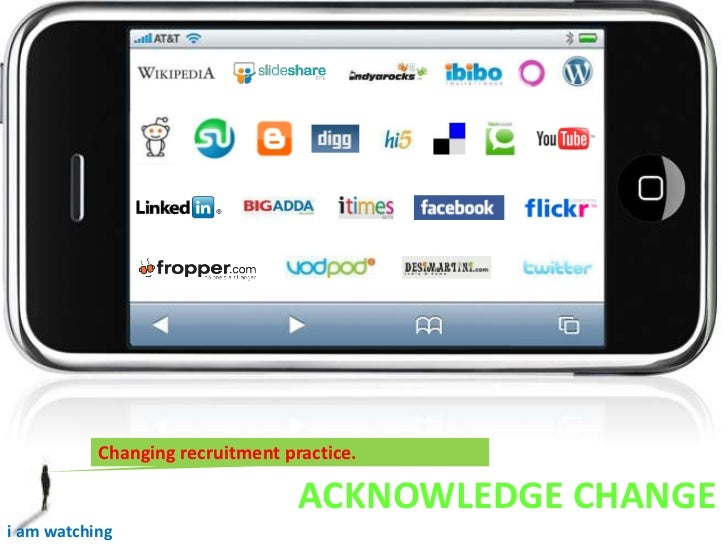 Changing recruitment practice. <br />ACKNOWLEDGE CHANGE<br />i am watching <br />