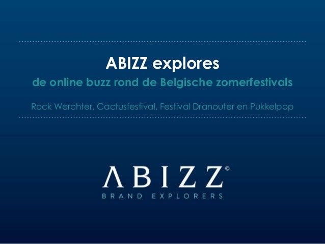de online buzz rond de Belgische zomerfestivals Rock Werchter, Cactusfestival, Festival Dranouter en Pukkelpop ABIZZ explo...
