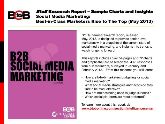 BtoB magazineBtoB Research Report – Sample Charts and InsightsSocial Media Marketing:Best-in-Class Marketers Rise to The T...