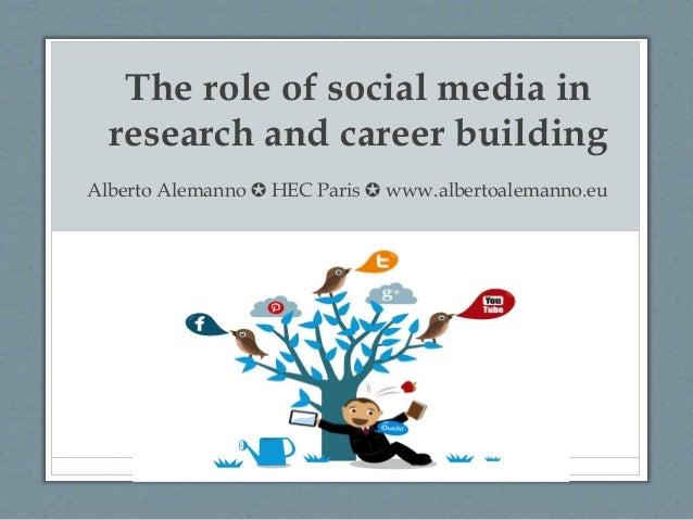 The role of social media in  research and career buildingAlberto Alemanno ✪ HEC Paris ✪ www.albertoalemanno.eu