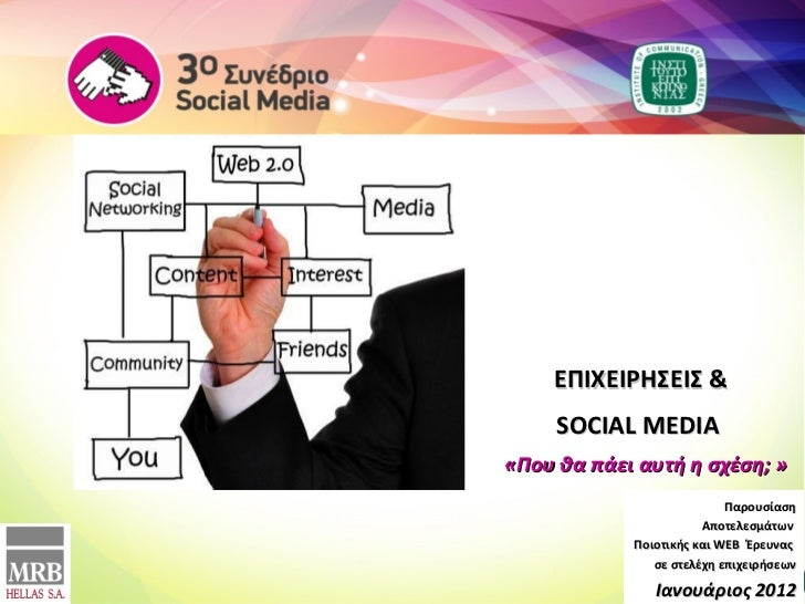 E ΠΙΧΕΙΡΗΣΕΙΣ  & SOCIAL MEDIA  «Που θα πάει αυτή η σχέση ;  » Παρουσίαση   Αποτελεσμάτων   Ποιοτικής και  WEB  Έρευνας  σε...