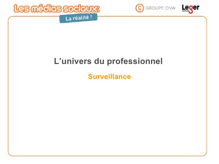L'univers du professionnel  Surveillance
