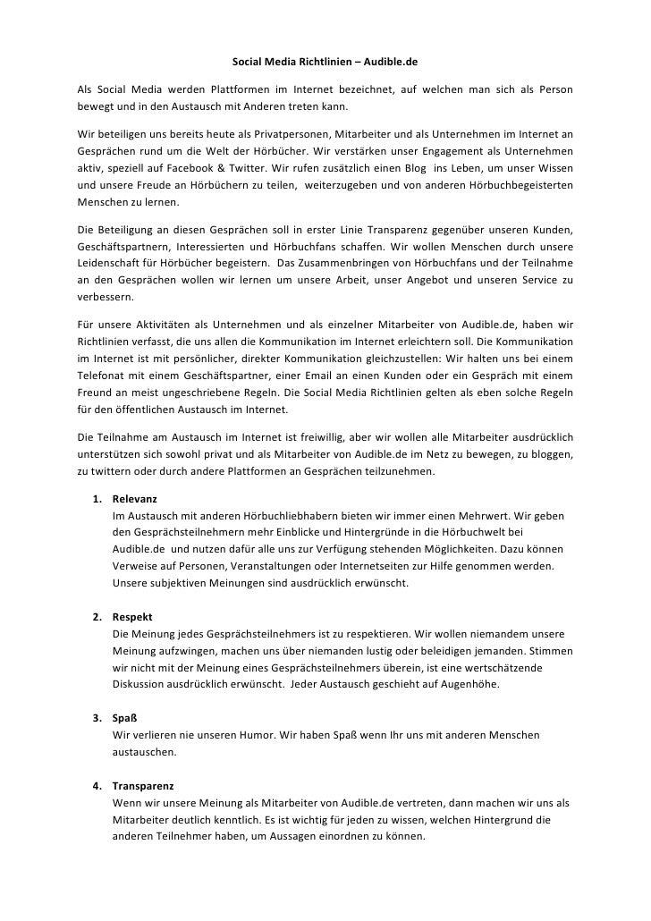 Social Media Richtlinien – Audible.de<br />Als Social Media werden Plattformen im Internet bezeichnet, auf welchen man sic...