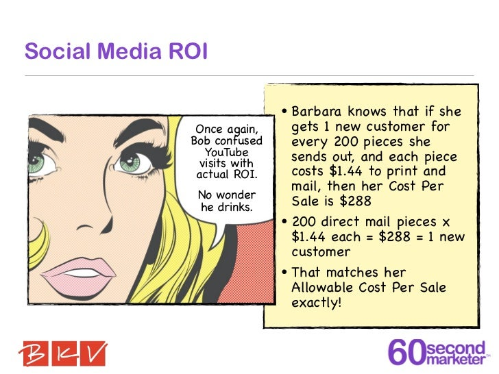 Social Media ROI                              •   Barbara knows that if she               Once again,        gets 1 new cu...